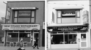 Fig. 26 Before, left , and after, right, this Restaurant, Newtownards Road, has lost it's colour codes