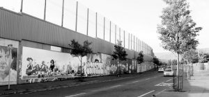 Fig. 6 Perhaps the most famous peace wall in Belfast is this on Cupar Way, West Belfast